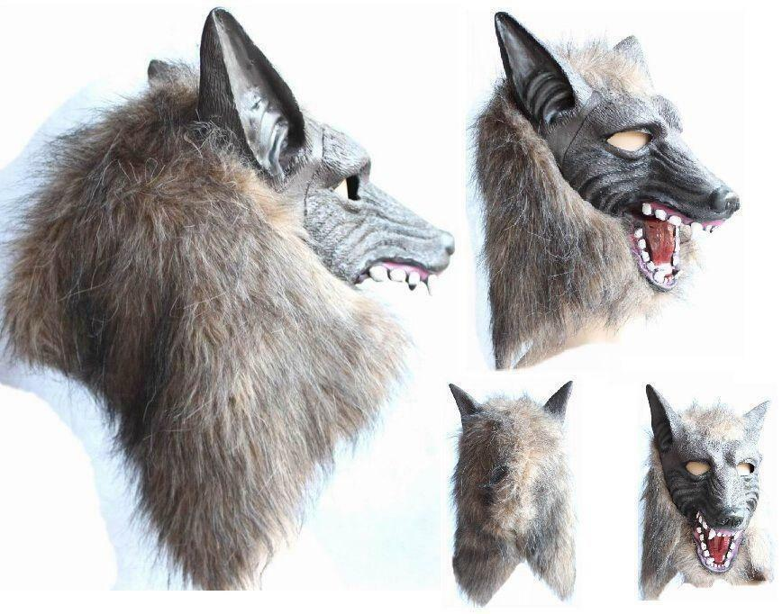 Wolf/'s Head Plastique Masque Hommes Adultes Kid Mascarade Loup-Garou Halloween Costume