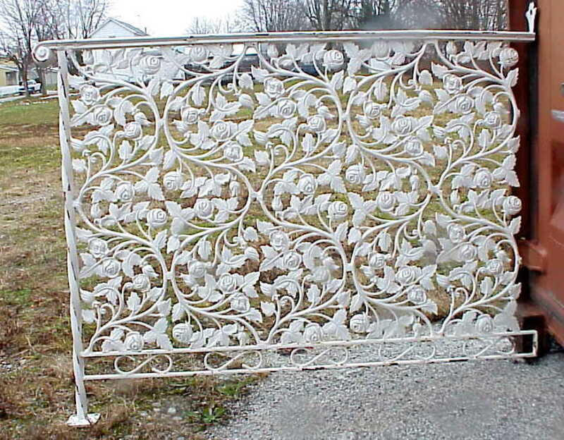 AWESOME Antique Wrought Iron Porch Railing w Flowers