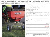 SEALEY SPB80T BROADCAST SPREADER 80KG TOW BEHIND GRIT SEED SALT DE ICER HITCH DESIGN