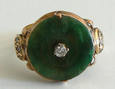Vintage 14K Yellow Gold Diamond Jadeite Jade Ring A Grade Antique Estate
