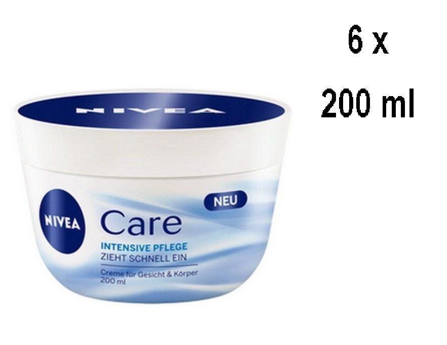6er Pack - Nivea Face & Body Cream - Intensive Care - für alle Hauttypen - 200ml