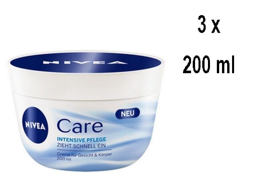 Nivea Face & Body Cream - Intensive Care - für alle Hauttypen - 3 x 200 ml