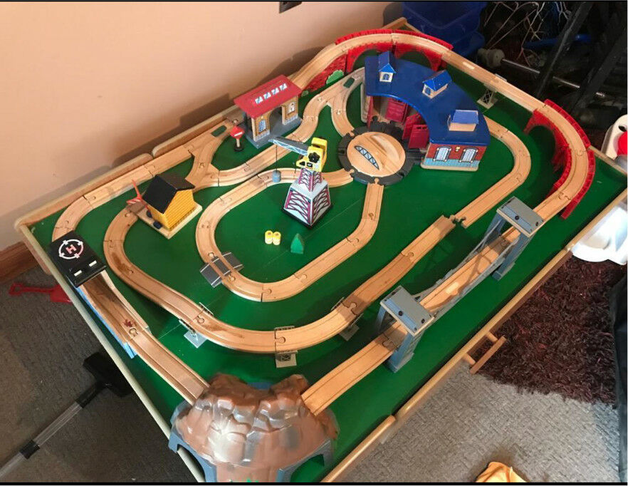 Thomas wooden train table with wooden train track