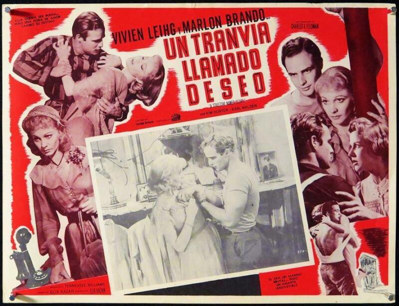 L390      A STREETCAR NAMED DESIRE Mexican Lobby Card 1970 Marlon Brando