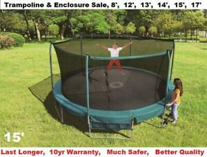 15 foot & 17 foot Trampoline & Safety Enclosure Net Industrial Grade$399 & $499,Shipping Available 6 Other Sizes Avail