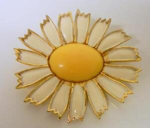 Retro-Vintage-WEISS-Daisy-FLOWER-Gold-Tone-Metal-Enamel-PIN-BROOCH-Signed