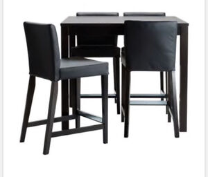 Ikea bar table and 4 leather chair set
