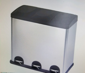 Stainless Steel, 3 compartment, 60L Garbage C