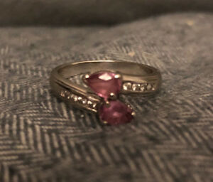 14 kt white gold diamond & pink sapphire ring  paid over 1500