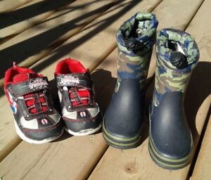 Boys Rain Boots and Runners, toddler size 9