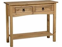 New Solid Cheap Corona Mexican Pine 2 drawer hall console table with shelf £65 IN STOCK NOW