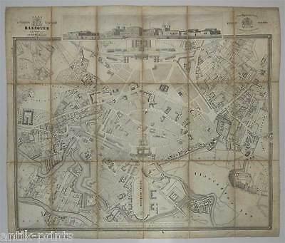 Hannover-großer Plan-Karte-Ansicht-map - Lithographie Sohnrey 1846