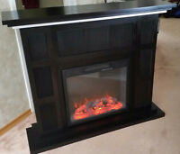 Modern Dark Solid Wood Electric Fireplace Excellent Condition