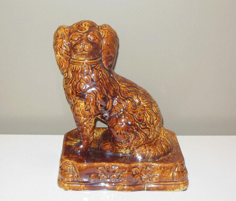 Antique Rockingham Glaze Yellow Ware Seated Spaniel King Charles Dog Door Stop