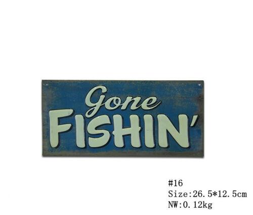 GONE FISHING Vintage Retro Metal Tin Sign Plaque Garage Bar Pub ManCave Home