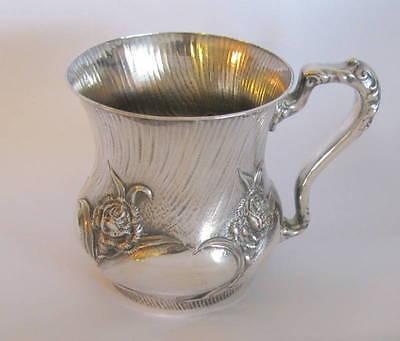 Britannia Rose Antique - MERIDEN BRITANNIA Unique Repousse Rose Christening / Baby Cup