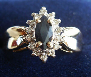 14kt Gold Sapphire Diamond Ring, Size 7, Like New