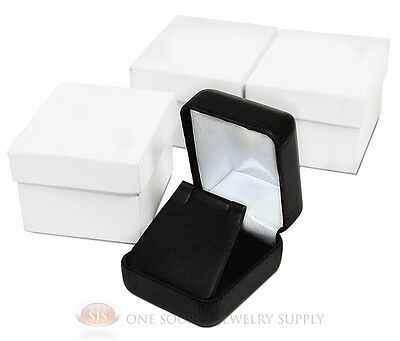 3 Piece Black Leather Earring Jewelry Gift Boxes 1 78w X 2 18d X 1 12h