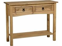 Corona 2 Drawer Console Table with Shelf in Distressed Waxed Pine - 1 left in stock - £51