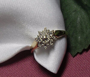 """10kt yellow gold """"Diamond Cluster"""" Engagement Ring"""