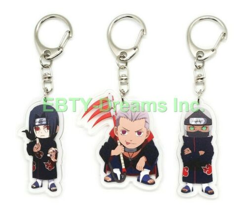 Set of 3 Naruto Anime Acrylic Keychain Akatsuki Kakuzu, Hidan, Uchiha Itachi