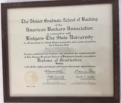 - 1963 Diploma Of Banking Graduate School Rutgers State Glass & Wood Framed