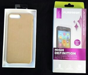 iPhone 7 Plus Leather Case and High Def Glass ScreenProtectorKit