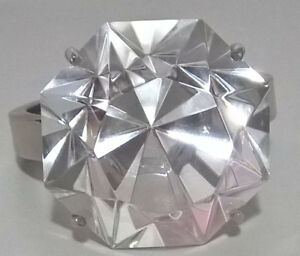 Glass Diamond Engagement Ring Napkin Paperweight