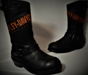 Bottes Moto HARLEY Homme Taille 9 CUIR Accent Brodé Avant 75$ VI