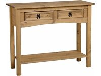 Side Table Corona Pine with 2 Drawers only 1 month old.