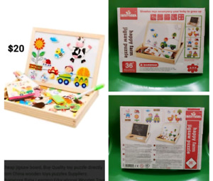 Wooden 2 sided writing board with over 100 magnetic Puzzles