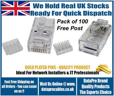 Pack 100 CAT6 RJ45 Crimp End Connectors Plugs Two Piece Gold Plated Inc Load Bar