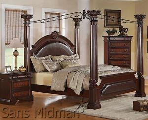 empire 4 piece bedroom set cal king canopy poster bed 2 nightstands