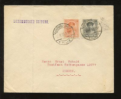 LUXEMBOURG 1925 COVER to ZURICH 20c + 80c FRANKING...LUXEMBURGER ZEITUNG NEWS