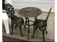Cast iron garden bristo set table and chairs