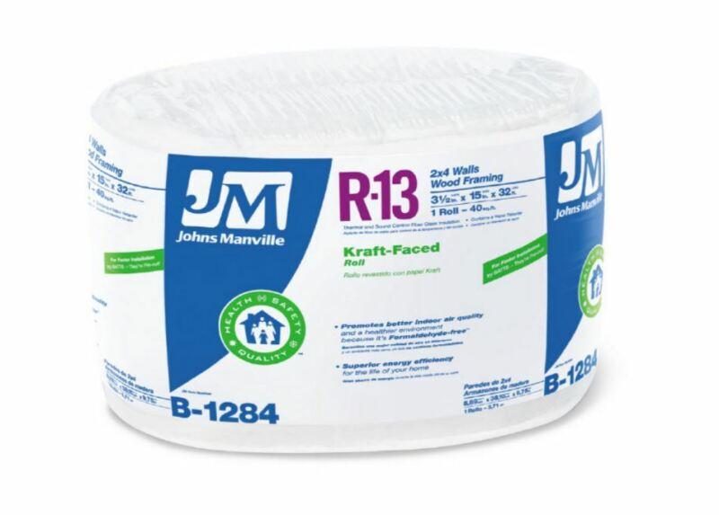 """Johns Manville 90013166 Kraft-Faced R-13 Fiberglass Insulation Roll, 15"""" x 32"""
