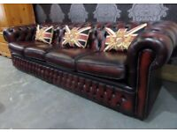 Fantastic Refurbished Chesterfield 4 Seater Sofa in Oxblood Red Leather - Uk Delivery