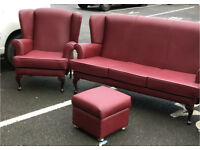 Retro Style Wingback Suite ( Sofa, Chair and Stool)