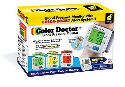 COLOR DOCTOR BLOOD PRESSURE MONITOR, Irregular Heart Beat Alert +More, NEW