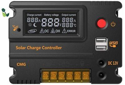 20A 12V/24V Back Lit LCD Solar Charge Intelligent Battery Controller Regulator
