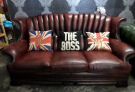 Stunning Chesterfield Dellbrook 3 Seater Sofa Oxblood Red Leather - UK Delivery