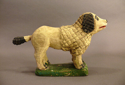Antique Carved Wood Folk Art Primitive Poodle Figurine Statue Painted