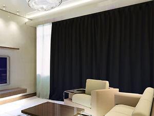 100 Blockout Curtain 270x230cm Pinch Pleat Blackout High Level Fabric Black Ebay