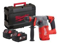 Milwaukee 18v Fuel SDS Plus Hammer Drill with 2 x 5.0ah Batteries, Charger and Dynacase