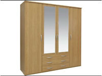 New Hallingford 4 Door 3 Drawer Mirrored Wardrobe - Oak