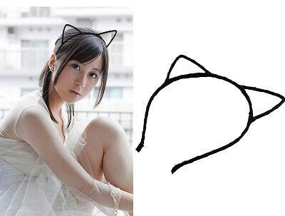 Haarreif  Schwarze Katzenohren Ohr Kopfband Katze Kostüm Party (Haar Band Kostüm)