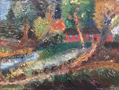 Norddeutsche Landschaft m. Haus Expressionist Original Ölgemälde 35x46 Monogramm (Deutsche Expressionisten)