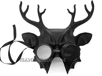 Steampunk Goggles Black Masquerade Deer Mask Halloween Costume Party Wall - Deer Mask Costume