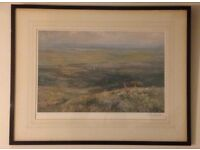 Lionel Edwards (1878-1966) signed in pencil Stag Hunting print with rear label, Fores Ltd.