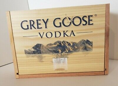 Grey Goose Vodka Vintage Wooden Box Crate holds 12x50ML bottle Empty Lake Image